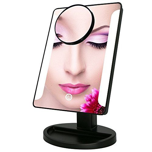 LED Lighted Vanity Makeup Mirror Bukm Touch Screen 38 LED Bathroom Cosmetic Magnifying Mirrors With Removable 10x Magnification Spot Mirror Battery Or USB Powered Black * Click image for more details.