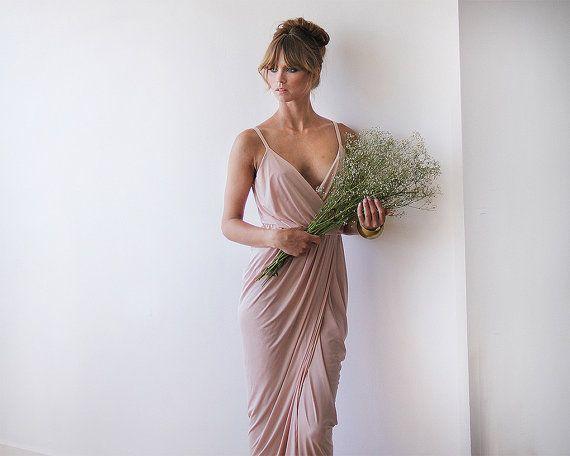 Wrap maxi pink bridesmaids sexy dress by BLUSHFASHION on Etsy