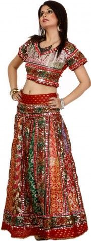 Red and Green Lehenga Choli with Multi-Thread Embroidery, Sequins and Mirrors