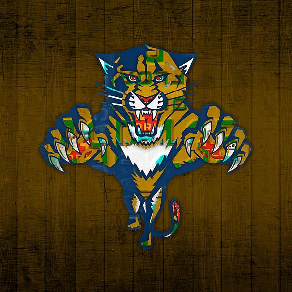 #Florida #Panthers #hockey team recycled vintage license plate art.