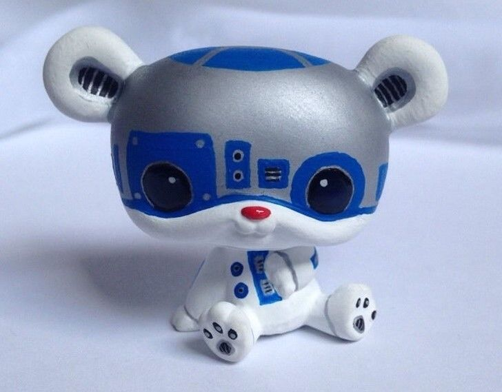Littlest pet shop * L2P2 Robot * Custom Hand Painted LPS Star Wars Bear OOAK #Hasbro
