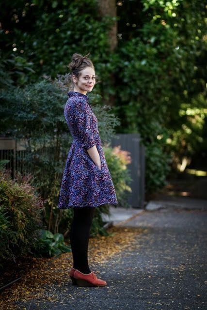 Purple floral dress + rust shoes