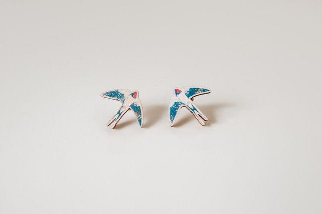 Swallow Bird Wooden Earrings £8.50
