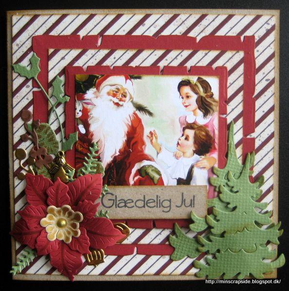 Lidt flere af de julekort jeg har sendt i år: Med TH7Sizzix die Gnomer fra By Lene Design og krans fra Gummiapan Old paper d...