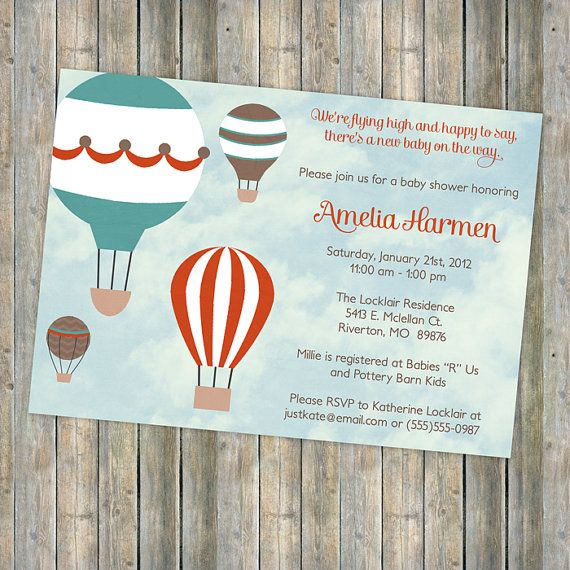 hot air balloon baby shower, flying high, vintage feel, Hot air balloon baby shower digital, printable file (red, brown blue)
