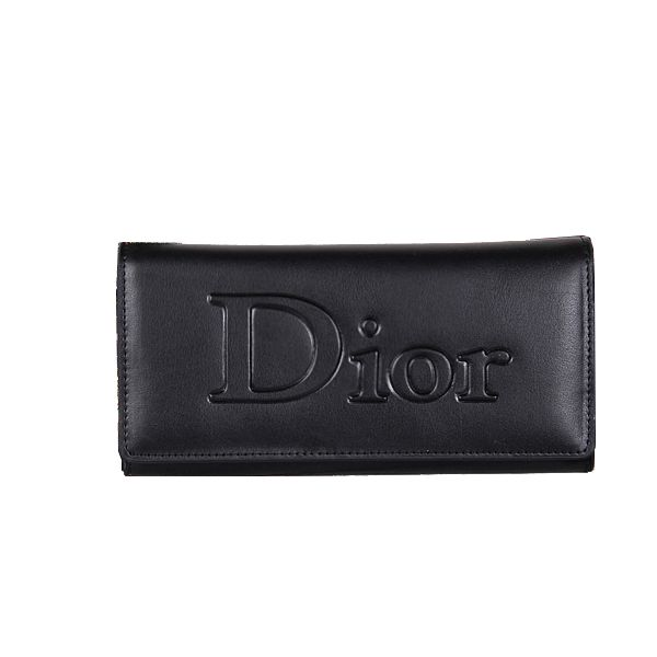 Wholesale Purses Dior Bi-Fold Wallet in Calfskin Leather DO117 Black
