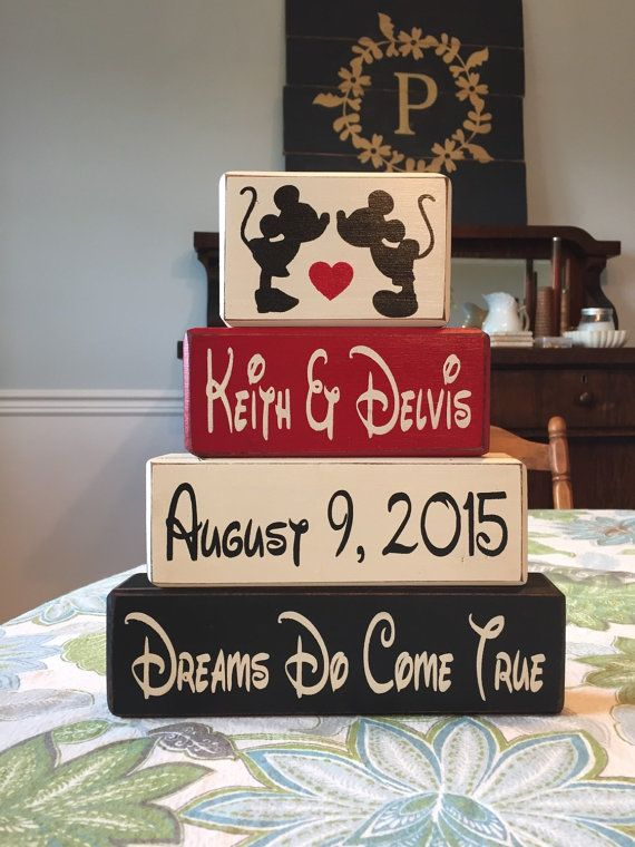 Mickey and minnie wedding gift anniversary gift centerpiece personalized stacking paintedwood blocks disney fan kissing mickey minnie