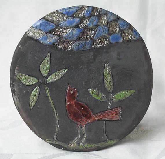 Ceramic picture Bird raku multicolour handmade