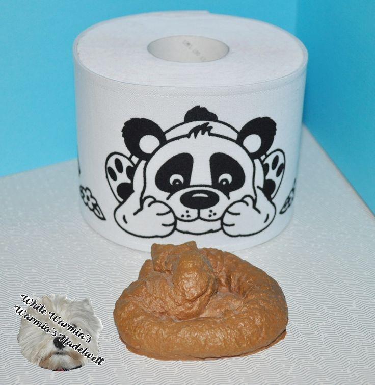 Plotterdatei Panda mit Blumen von Peppercus Design auf einer Toilettenpapier Hülle mit Flockfolie gepresst