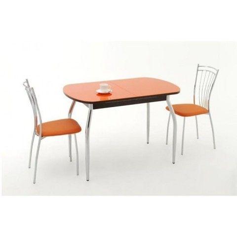 Стол обеденный Гала-1 стеклянный прямоугольный Дик дуб беленый, оранжевый