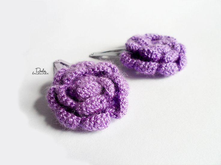 Spineczki do włosów kwiaty szydełkowe duże - DodoHandmade - Spinki do włosów