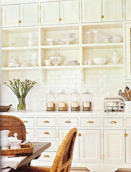martha stewart brass hardware ,white kitchen Small square upper cabinets
