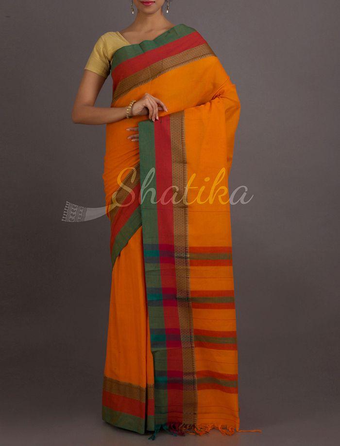 Sonal Enchanting Turmeric Stripe Splendor Narayanpet Pure #CottonSaree