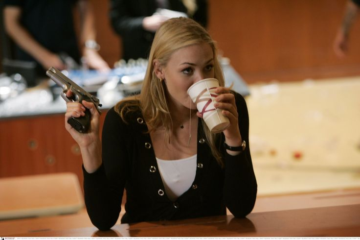 Sarah Walker on the job even when drinking coffee