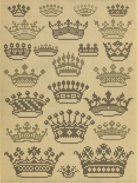 "We all need a tiara, don't we? From ""Album de Broderies au Point du Croix"", a cross stitch pattern book in the public domain. Download this lovely book in pdf, kindle or epub format here: https://archive.org/stream/albumdebroderies003dill"