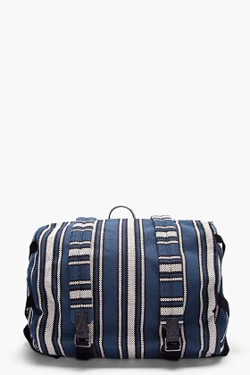MARC BY MARC JACOBS Blue Striped Barrel Backpack