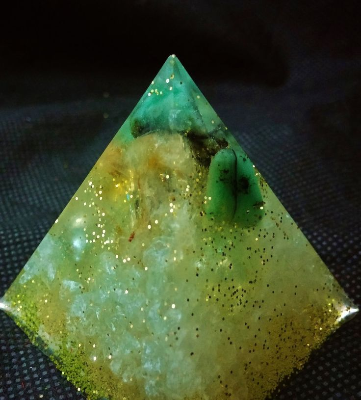 Emerald and Citrine Piezoelectric Pyramid with Glass Chips by KomacFineArt on Etsy