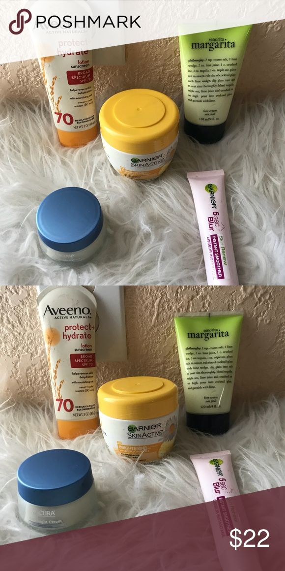 Skin care beauty bundle Aveeno lotion, garnier brightening moisturizer, margarita foot cream, 5sec blur by garnier, & lacura night cream Makeup