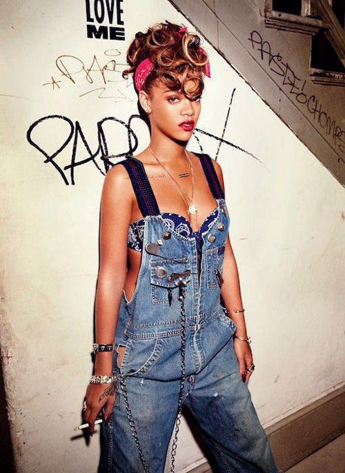 Rihanna!!!!!! ~only chick I know that can flip the overalls in a sexy way... #fashion, #rihannastyle