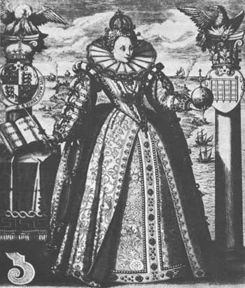 Queen Elizabeth was the first English monarch to encourage colonization of the New World. During her reign, England entered a golden age of exploration and expansion. From a 1596 engraving by an unknown artist.