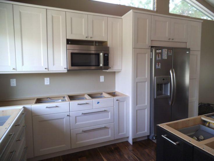 My kitchen! Ikea Ramsjo white cabinets.