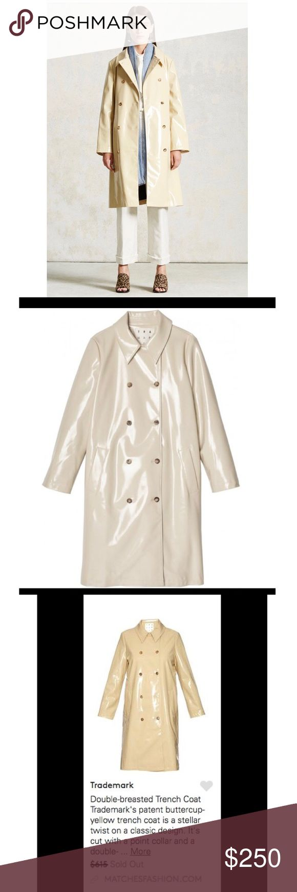 Double-breasted Trench Coat Brand New! Double breasted Trench Coat  Patent buttercup yellow trench coat trade-mark Jackets & Coats Trench Coats