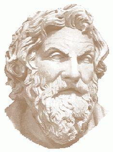"""Anaximenez, 590 a. C. - 524 a. C. Fue un filosofo griego. Fue discípulo de Tales y de Anaximandro, coincidiendo con él en que el principio de todas las cosas (y también el substrato que permanece invariable ante todos los cambios y el fin, o """"telos"""" al que todo vuelve) es infinito. """"Como el alma, que es aire, nos conserva en la vida, el aliento y el aire envuelven y mantienen la vida"""""""