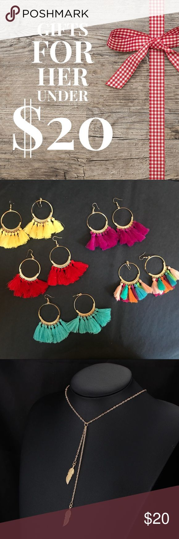 Necklaces & earrings for under $20! Great gifts! From trendy tassel earrings, to delicate necklaces in silver, gold and other colors, all priced under $20! Beautifully gift wrapped. Choose from over a dozen styles and finishes. Buy two or more and get an additional 20% off. Perfect gift for mom, daughter, wife, sister, girlfriend! Jewelry
