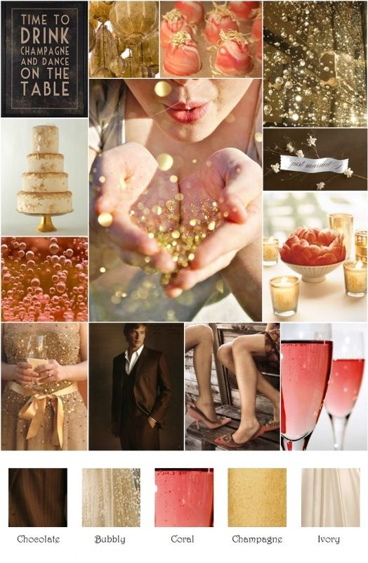 Coral and champagne wedding! ❤take out the chocolate and replace with black...perfect.