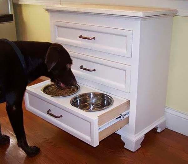 This is cool it is a built in water and food bowl in the shelve and you just open it and there is your animals food and water.