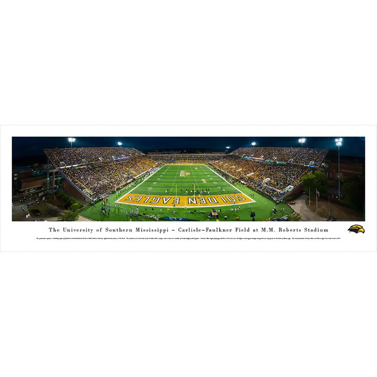 Worldwide Blakeway Panoramas Southern Mississippi Football Framed Print