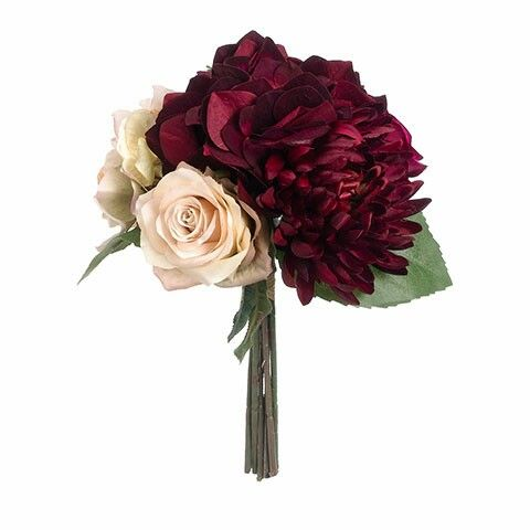 http://www.afloral.com/Silk-Flowers-Artificial-Flowers-Fake-Flowers/Fall-Floral-Stems/Hydrangea-and-Rose-Silk-Bouquet-in-Marsala-and-Mauve-10-Tall-fbq402  Www.afloral.com has lots of cheap silk flowers (that don't look obviously fake).