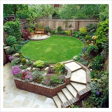 suburban garden with raised lawn and flowerbeds...