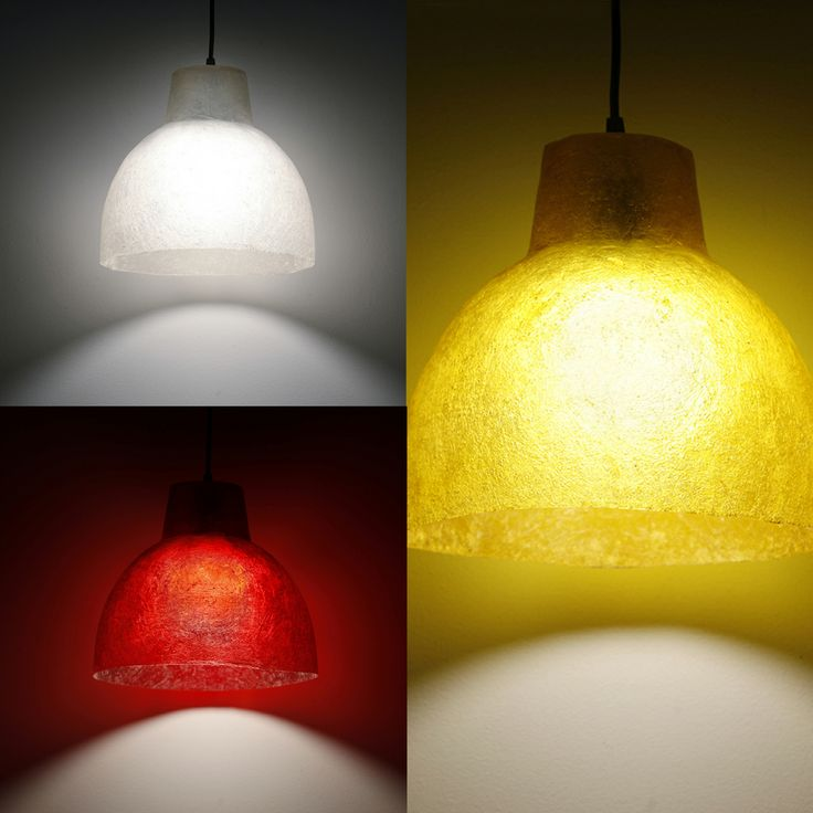 Small Industrial - hanging lamp (3 colours)   Hanging bell lamps made of fiberglass  Fiberglass material is robust and lightweight  In three colors: Natural White / Dark Yellow Gold / Wine Red