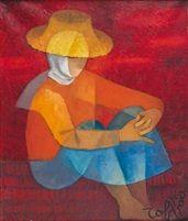 Femme assise en rouge by Louis Toffoli