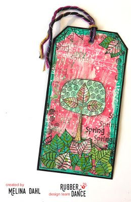 * Rubber Dance Blog *: Mixed media tag with Gelli printed background and tree stamp