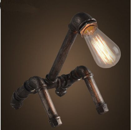 Edison old Retro design industrial iron pipes creative desk lamps Abajur de mesa vintage bedroom lampe deco table study lights