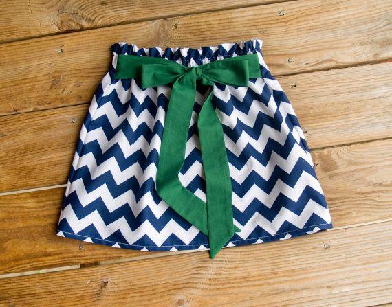 Navy Chevron Skirt with Green Tie Belt, Made to Order, Baby Girl Skirt, Summer Skirt, Twirl Skirt, Toddler Skirt, Chevron Skirt on Etsy, $22.00