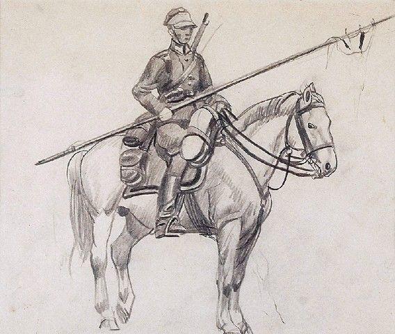 Ryszard PRAUSS (1902-1955)  Ułani na koniach zestaw 4 rysunków, ołówek, papier,  około 20 x 27 cm, (w świetle oprawy)