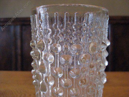 Vintage Sklo Union  Czech Pressed Glass Vase by Hermanova Hut glass works, designed by Frantisek Peceny in 1974.