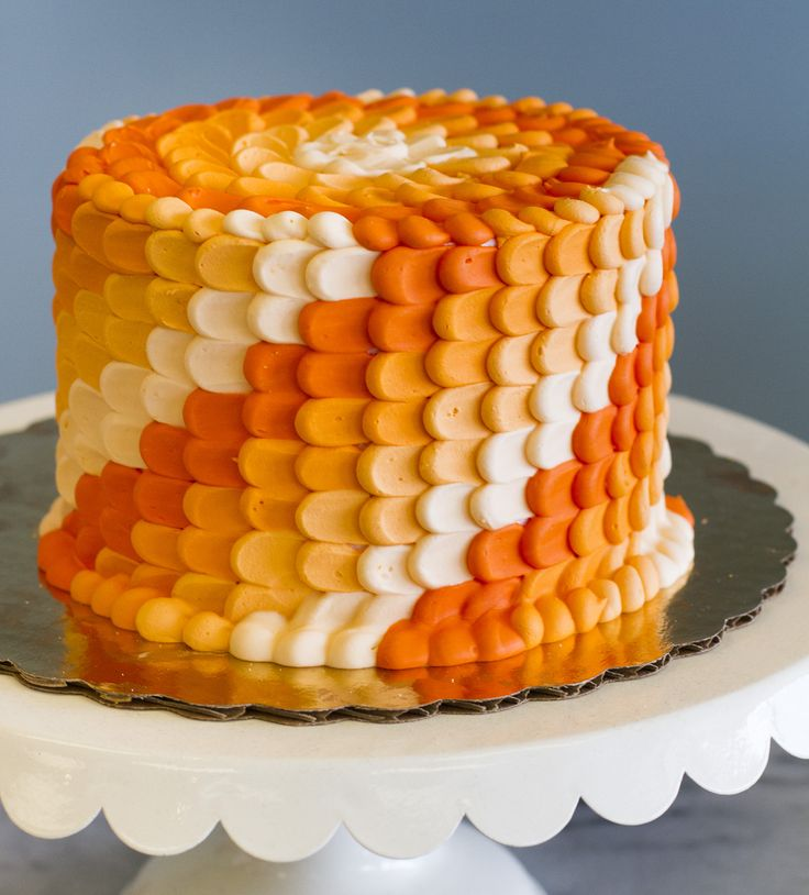 An orange ombre cake with a beautiful petal texture!  Cake # 015.