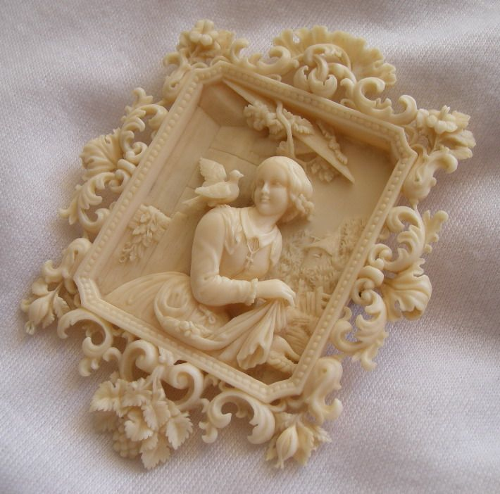 """Ivory carved cameo brooch   Size:  3"""" by 2 3/8""""   Date and Origin: Circa 1840/1850 Dieppe, France.: 1840 1850 Ivory, Carvings Cameo, Ivory Carvings, Circa 1840 1850, Ivory Cameo, Circa 18401850, 18401850 Ivory, 1840 1850 Diepp, Cameo Brooches"""