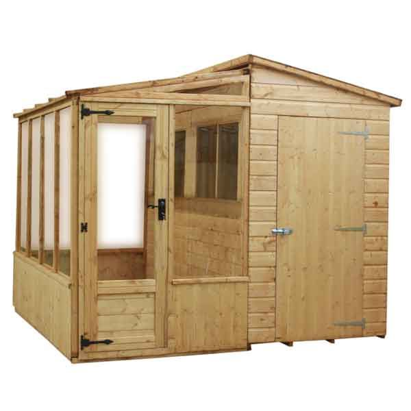 8 x 8 combi greenhouse wooden garden shed tongue and groove clad
