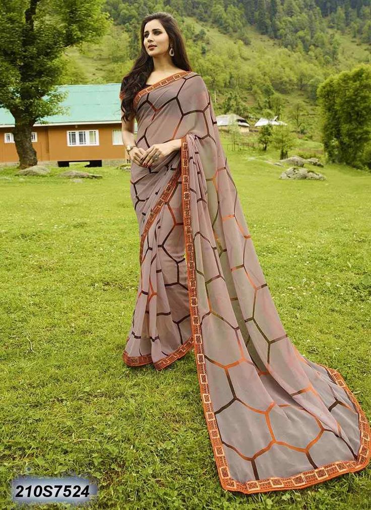 Breezy Light Brown Coloured Georgette Printed Saree