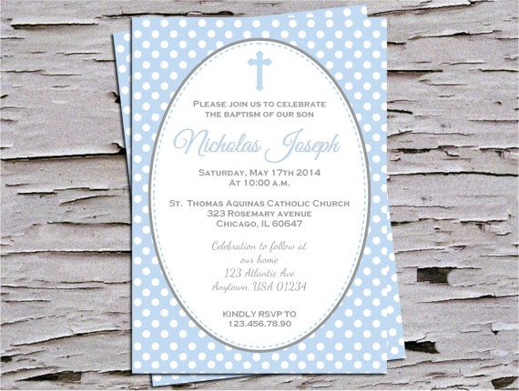Baby Blue and Polka Dots Baptism Christening Dedication Invitation for Baby Girl - DIY Print at Home - First Communion on Etsy, $12.00