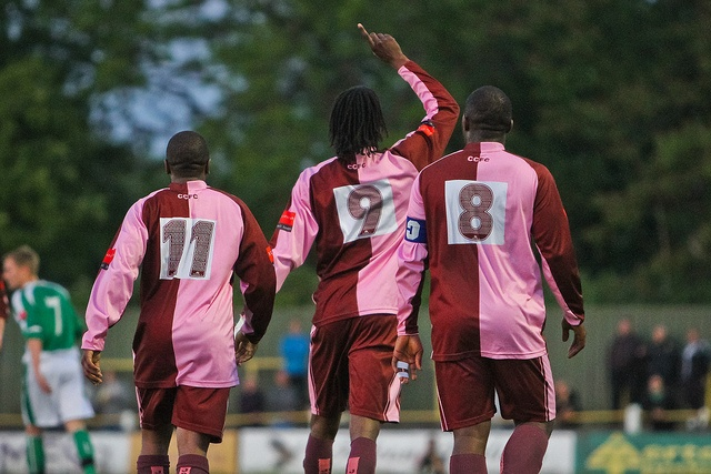 Joel Thompson (9) points to the skies after scoring Casuals' second of the evening in the Surrey Senior Cup Final. Corinthian-Casuals vs. Leatherhead FC by Stuart Tree, via Flickr