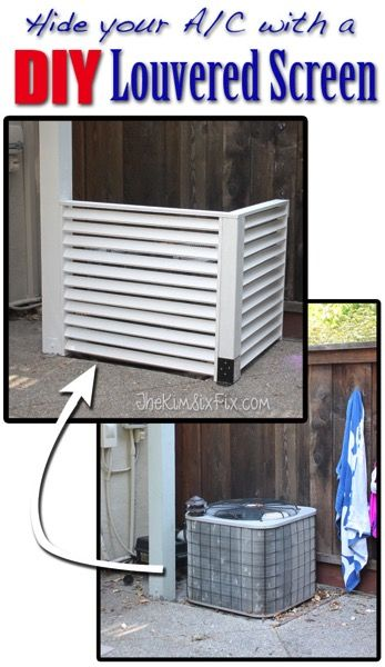 Disguise your AC with a DIY Louvered Screen.  Inexpensive to build and without any complicated tools.  Just a saw and a drill!  via www.TheKimSixFix.com  #TheKimSixFix