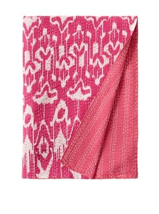 51% OFF Ikat Bed Cover (Fuchsia/White)