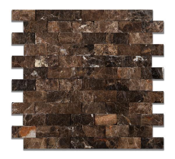 Dark Tile Master Bathroom: Emperador Dark 1x2 Split Faced Mosaic Tile