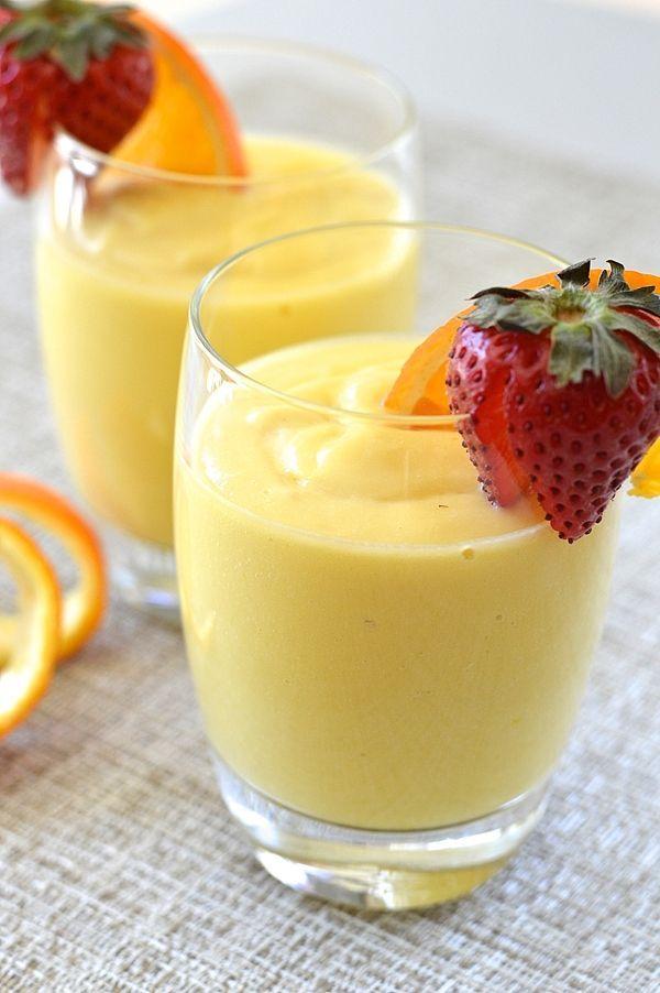 Tropical Breakfast Smoothie (with orange, ginger, pineapple, mango, Coconut Milk, vanilla, honey)